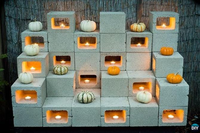 DIY Cinder Block Garden Tealight-10 Simple Cinder Block Garden Projects