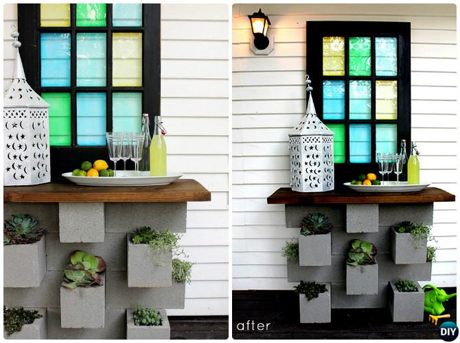 DIY Cinder Block Planter Bar Instruction-10 Simple Cinder Block Garden Projects