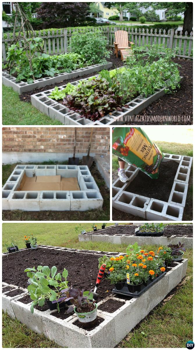 DIY Cinder Block Raised Garden Bed-20 DIY Raised Garden Bed Ideas Instructions