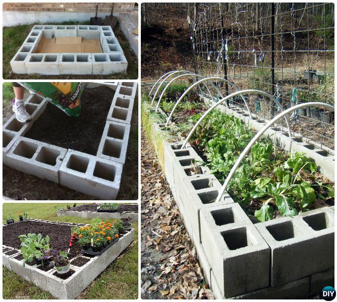 Concrete Block Garden Bed: DIY Cinder Block Garden Projects Instructions