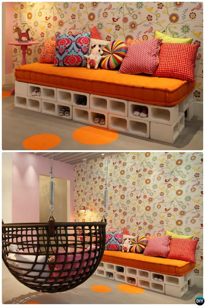 DIY Cinder Block Sofa-10 DIY Concrete Block Furniture Projects