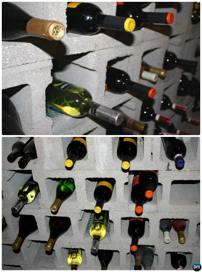 DIY Cinder Block Wine Rack-10 DIY Concrete Block Furniture Projects