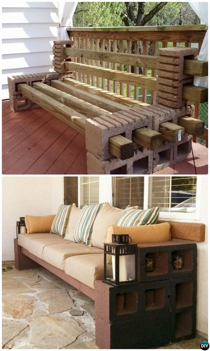 cinder block furniture. DIY Concrete Cinder Block Bench Seating-10 Furniture Projects