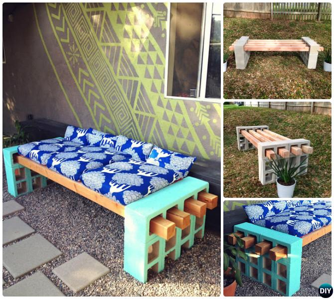 DIY Concrete Cinder Block Garden Bench-10 Simple Cinder Block Garden Projects