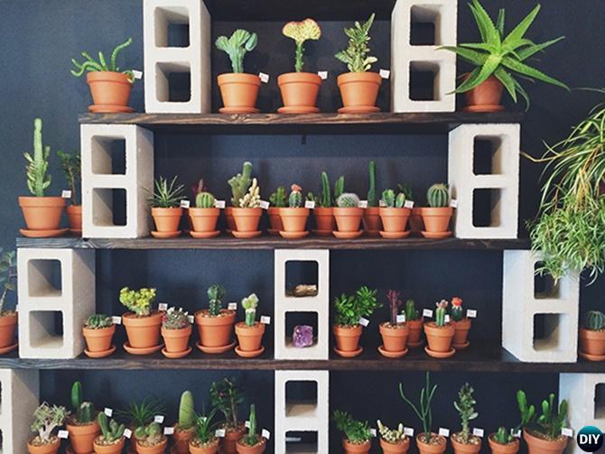 DIY Concrete Cinder Block Garden Planter Shelf-10 Simple Cinder Block Garden Projects