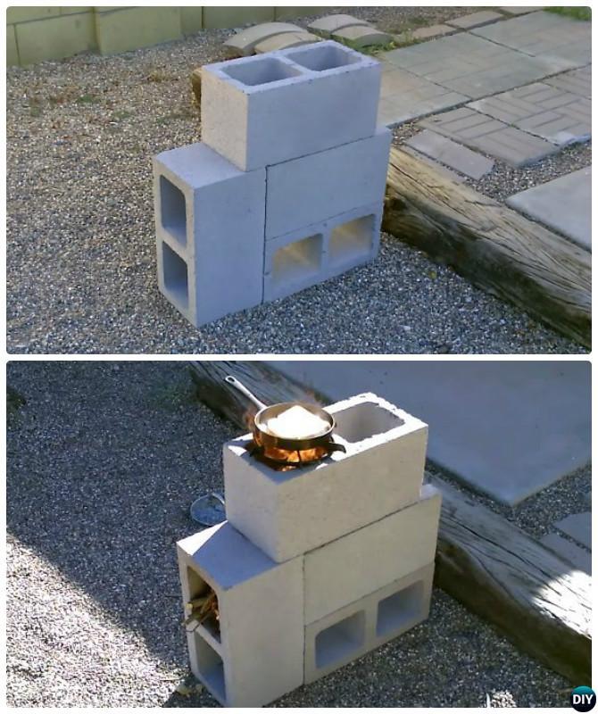 Diy cinder block garden projects instructions for 4 block rocket stove
