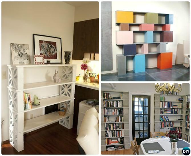 DIY Concrete Cinder Bookshelf-10 DIY Concrete Block Furniture Projects