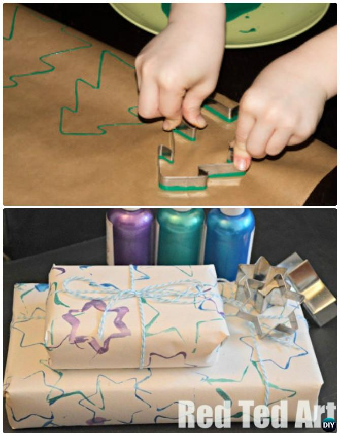 DIY Cookie-Cutter Printed Wrapping Paper Instruction-16 Cookie Cutter Craft Ideas Project