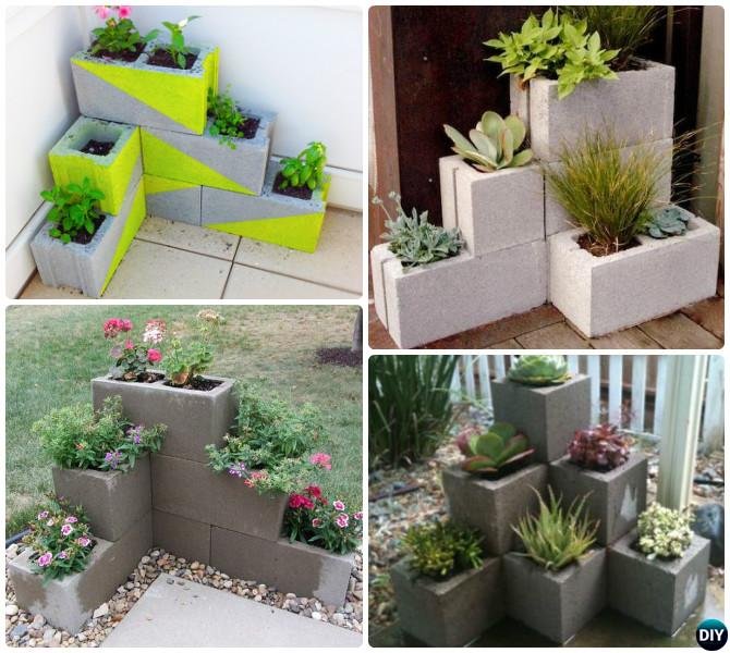 DIY Corner Cinder Block Planter-10 Simple Cinder Block Garden Projects