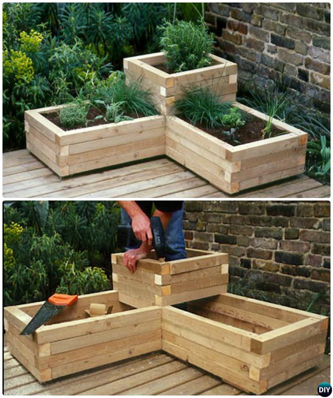 DIY Corner Wood Planter Raised Garden Bed