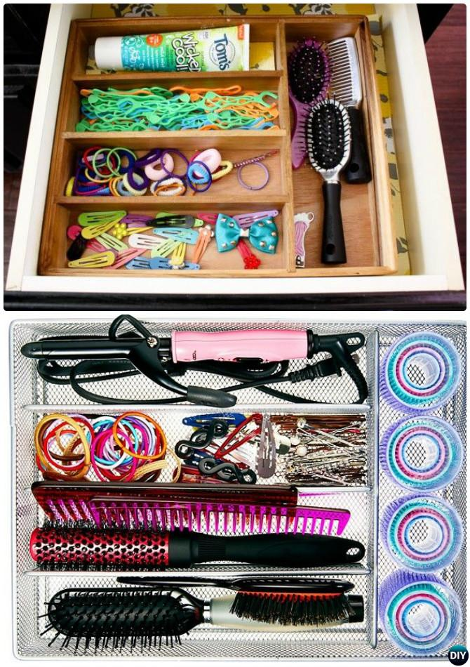 DIY Cutlery Tray Hair Accessory Organizer -16 Cutlery Tray Home Organization Ideas