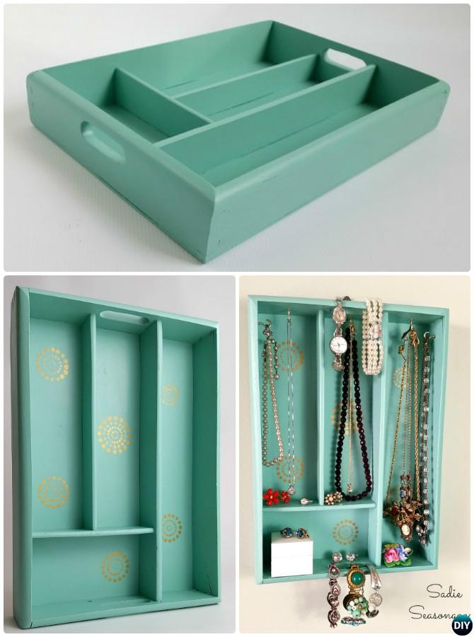 DIY Cutlery Tray Jewelry Display Organizer Instruction -16 Cutlery Tray Home Organization Ideas