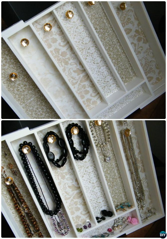 DIY Cutlery Tray Jewelry Organizer Instruction--16 Cutlery Tray Home Organization Ideas