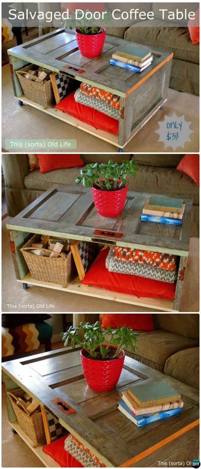 DIY Door Coffee Table-Repurpose Old Door Into Coffeetable Instruction