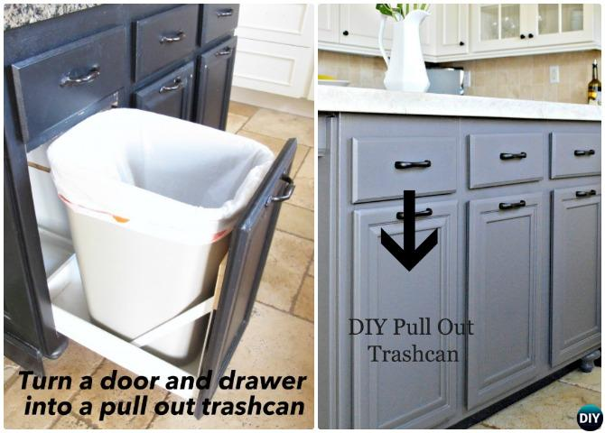 DIY Door Drawer Pull Out Trash Can Smart Ways To Hide Your Trash Can