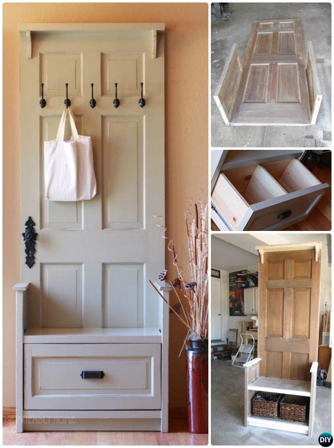 DIY Door Entry Bench-Repurpose Old Door Into Entryway Bench Instruction