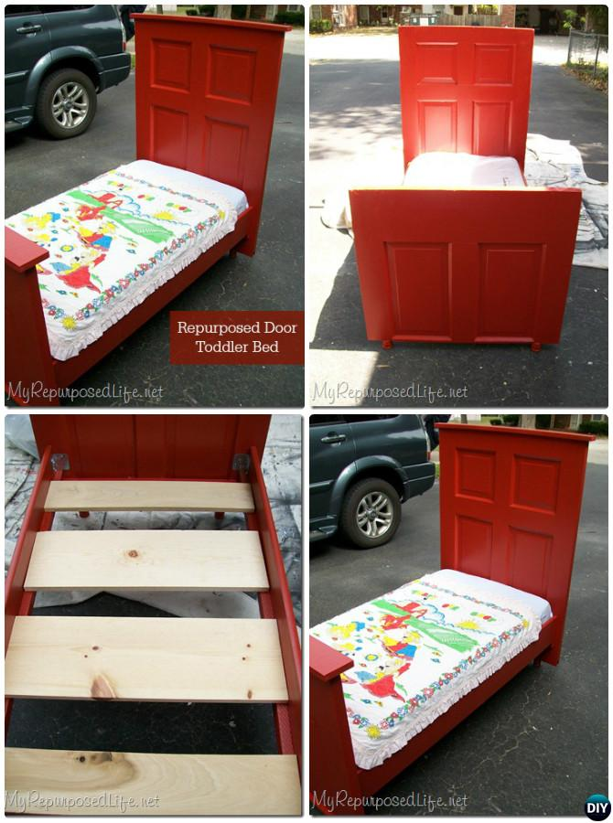 DIY Door Toddler Bed-Repurpose Old Door Into Bed Frame