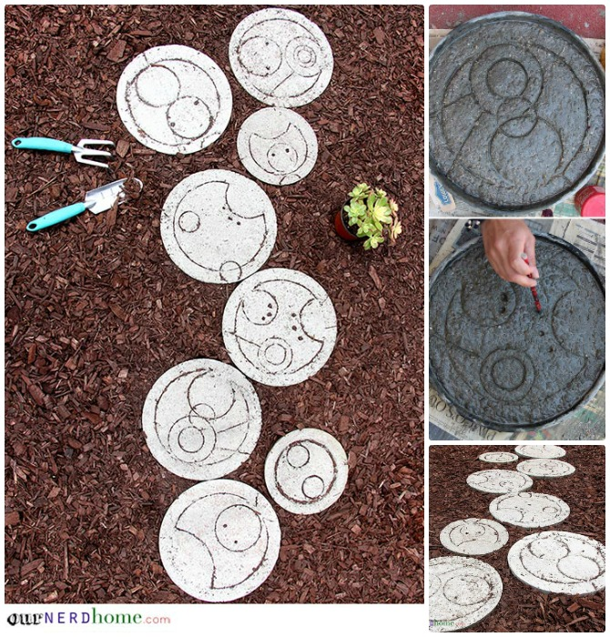 DIY Dr Who Cake Pan Stepping Stone Pathway Instructions