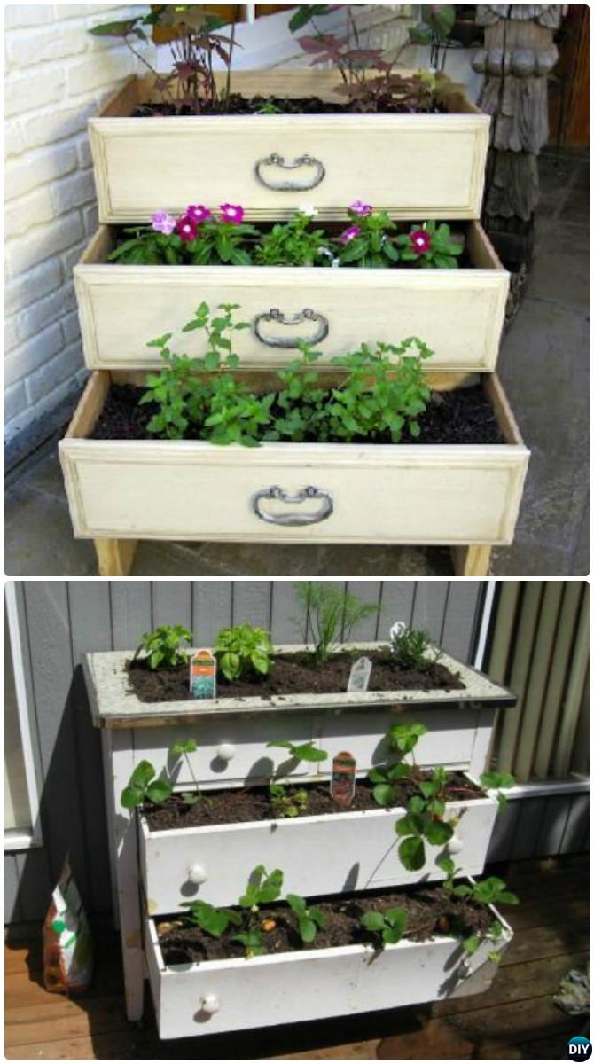 DIY Dresser Drawer Garden Container Instruction DIYHowto-Best Draw Gardening Ideas