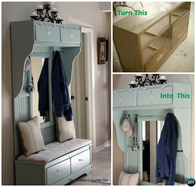 DIY Dresser to Entryway Mudroom Bench Instructions-20 Best Entryway Bench DIY Ideas Projects
