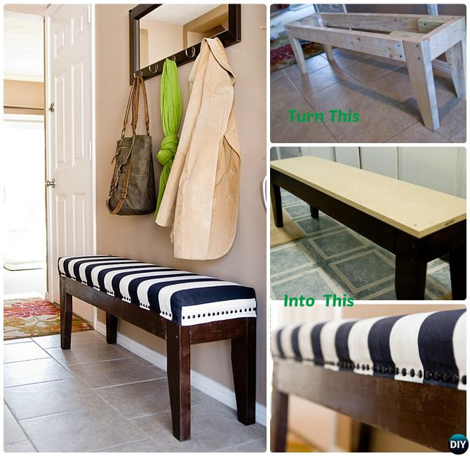 DIY Easy Upholstered Bench Instructions-20 Best Entryway Bench DIY Ideas Projects