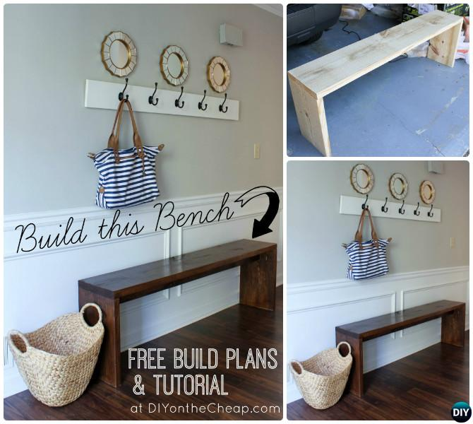 DIY Easy Wood Entryway Bench Instructions-20 Best Entryway Bench DIY Ideas Projects