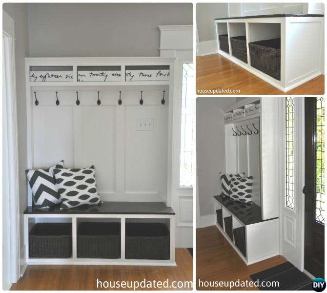 DIY Entry Bench with Cubbies and Hooks Instruction-20 Best Entryway Bench DIY Ideas Projects