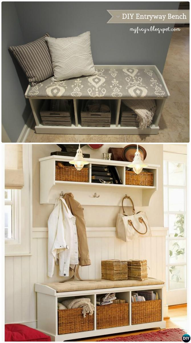 DIY Entryway Bench Storage Instructions-20 Best Entryway Bench DIY Ideas Projects