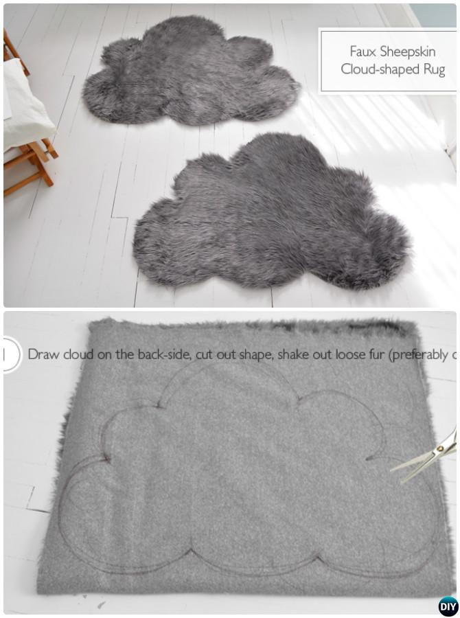 DIY Faux Sheepskin Cloud Rug Instruction-20 No Crochet DIY Rug Ideas Projects