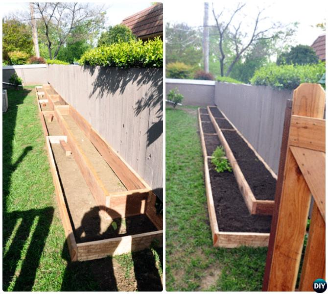 DIY Fence Line Raised Garden Bed-20 DIY Raised Garden Bed Ideas Instructions