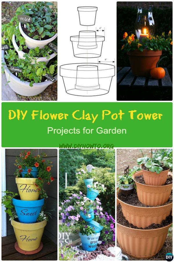 These DIY Flower Clay Pot Flower Tower Projects will be brilliant for vertical garden in such creative ways it will spruce up your garden this Spring.