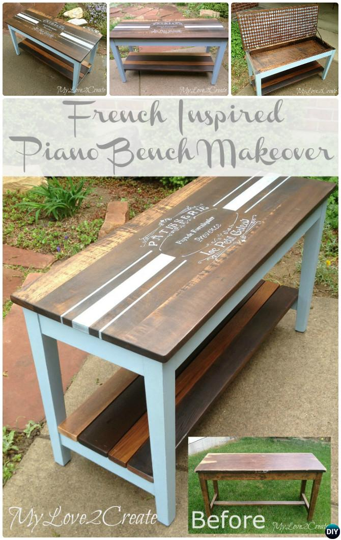 DIY French Inspired Piano Bench Makeover Instructions-20 Best Entryway Bench DIY Ideas Projects