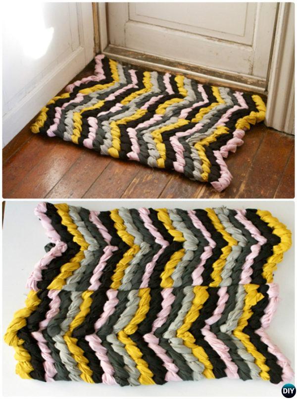 DIY Friendship Bracelet Chevron Rug Instruction-20 No Crochet DIY Rug Ideas Instructions