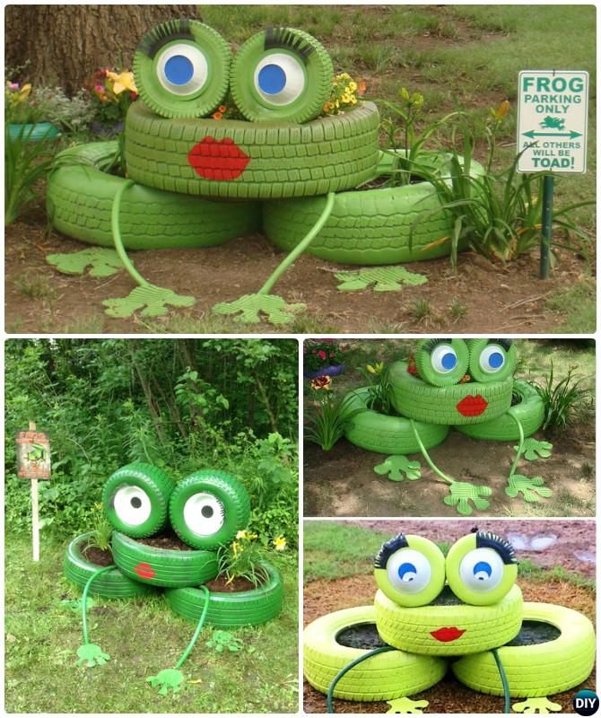 DIY Frog Tire Planter - DIY Tire Planter Ideas