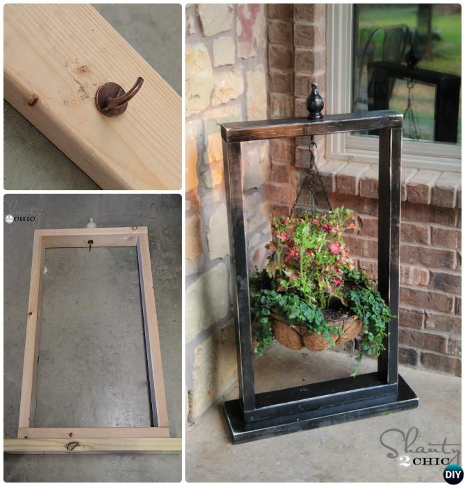 Diy Front Porch Hanging Planter Basket Wood Stand Frame 20 Decorating Ideas Projects