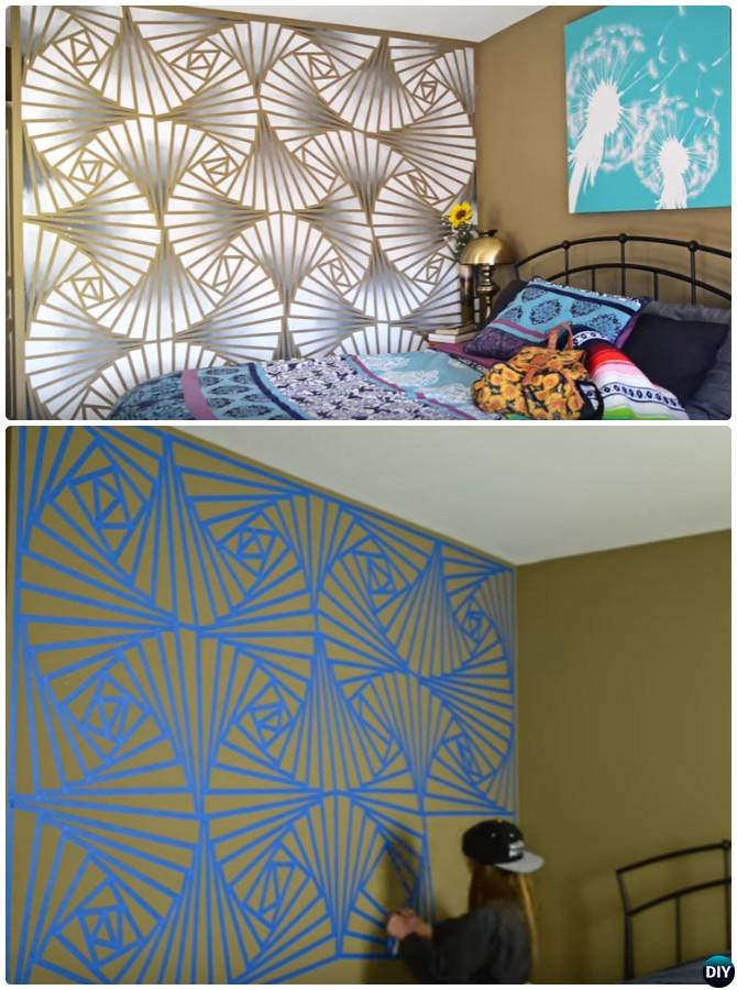 DIY Geometric Ombre Wall Painting Instruction -DIY Wall Painting Ideas Techniques Tutorials