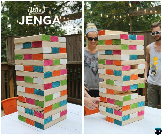 DIY Giant Jenga -20 DIY Summer Outdoor Games For Kids Adults