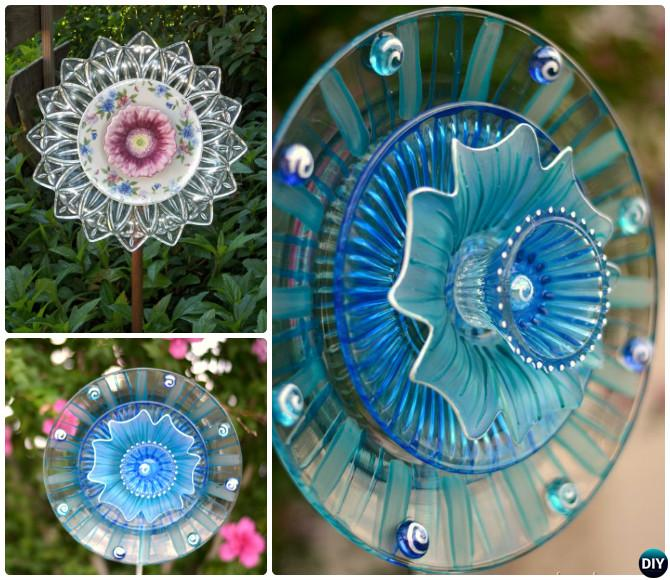 Garden Art Ideas tire recycling ideas 22 animal shaped garden decorations Diy Glassware Dish Flower Garden Art 20 Colorful Garden Art Diy Decorating Ideas