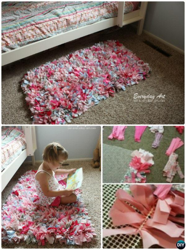 DIY Handmade Fabric Strip Rag Rug Instruction-20 No Crochet DIY Rug Ideas Projects