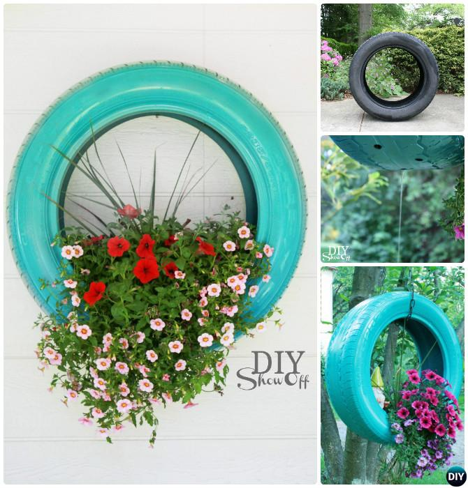 DIY Hanging Tire Planter - DIY Tire Planter Ideas
