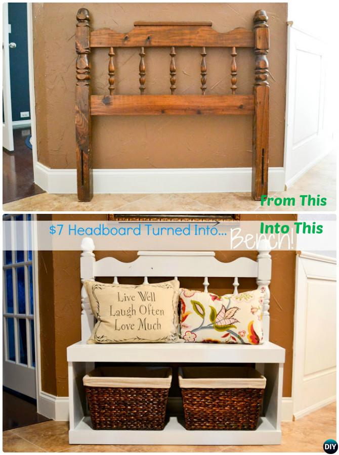 DIY Headboard Entry Bench with Storage-20 Best Entryway Bench DIY Ideas Projects