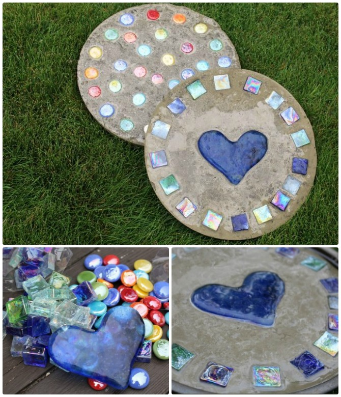DIY Heart Cake Pan Stepping Stone Instructions