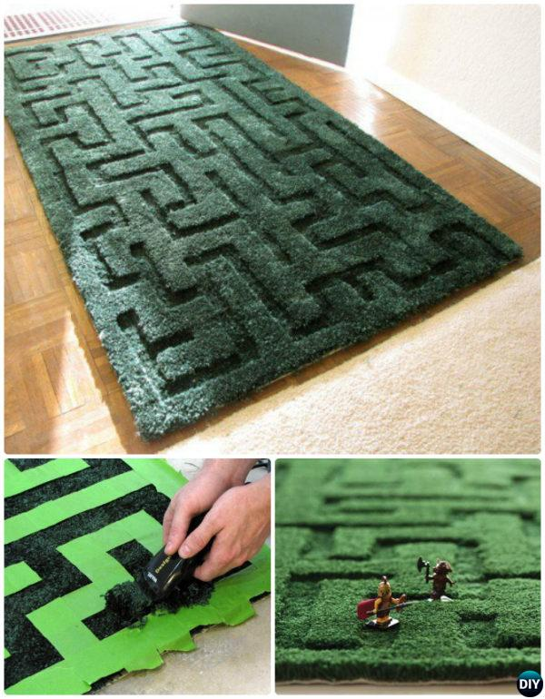 DIY Hedge Maze Area Rug Instruction-20 No Crochet DIY Rug Ideas Projects