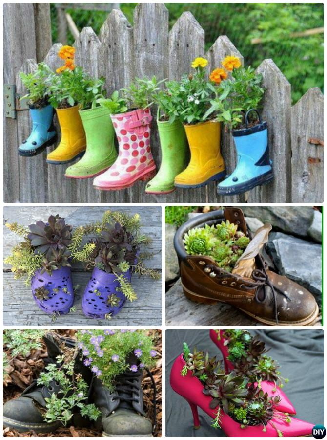 DIY Heel Boots Shoe Planter Instructions-20 DIY Upcycled Container Gardening Planters Projects