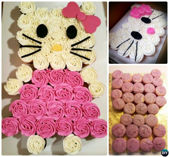 DIY Hello Kitty Pull Apart Cupcake Cake 20 Gorgeous Designs For