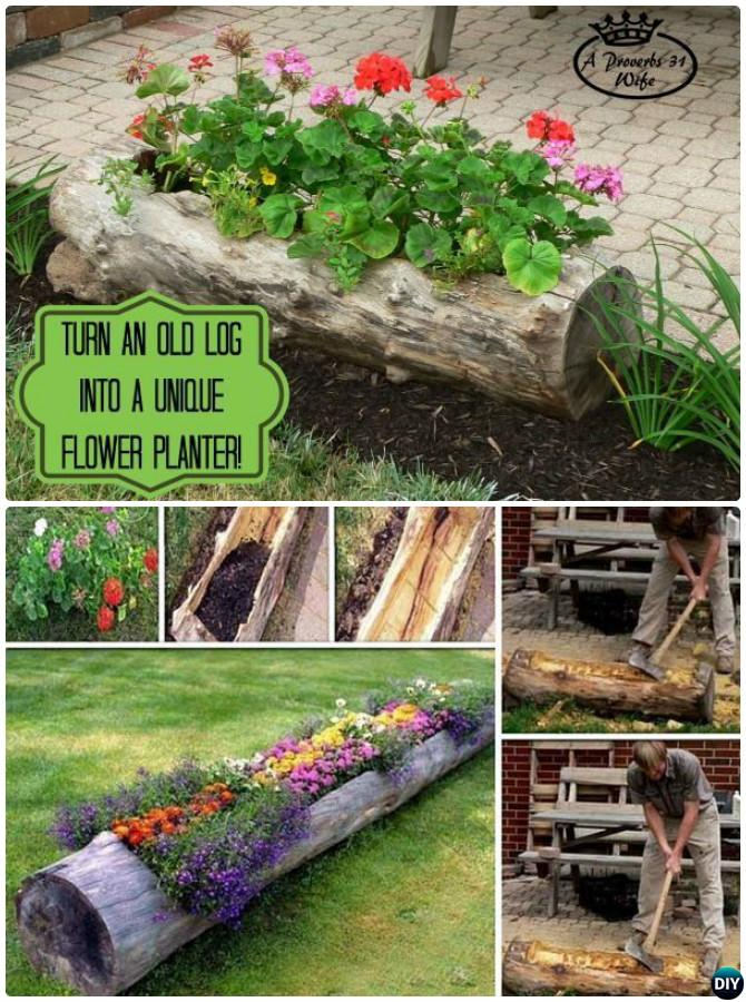 DIY Hollow Log Planter Instructions-20 DIY Upcycled Container Gardening Planters Projects