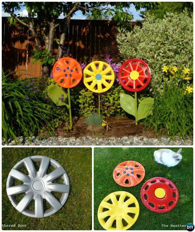 DIY Hubcap Flower -20 Colorful Garden Art DIY Decorating Ideas Instructions