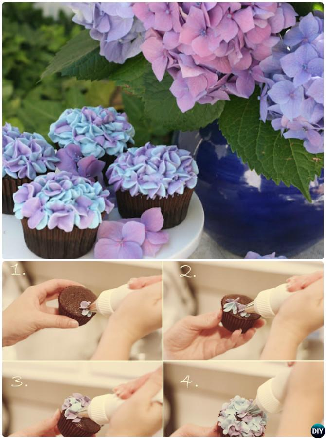 DIY Hydrangea Flower Cupcakes-50 Most Surprising Cupcake Decoration Ideas and Recipes