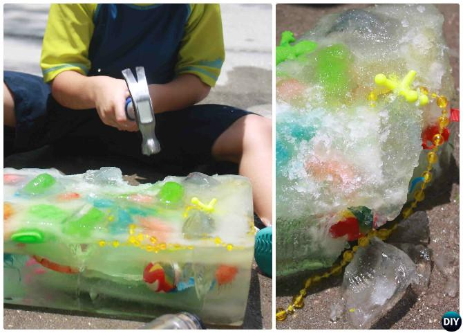 DIY Ice Block Treasure Hunt -20 DIY Summer Outdoor Games For Kids Adults