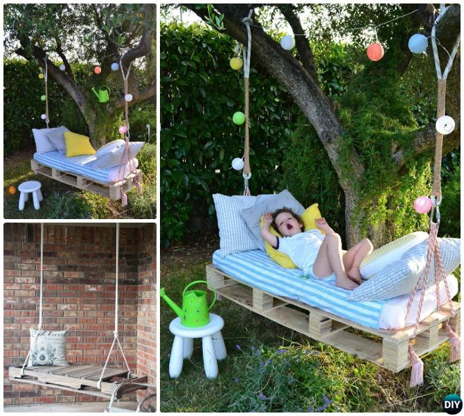 DIY Kids Pallet Swing Instructions - DIY Outdoor Kid Swing Ideas Projects [Picture Instructions]